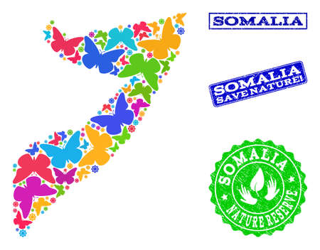 Ecological composition of bright mosaic map of Somalia and rubber seal stamps with Nature Reserve text. Mosaic map of Somalia designed with bright colored butterflies.