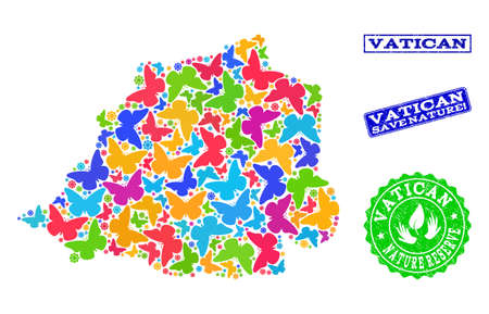 Ecological collage of bright mosaic map of Vatican and rubber seals with Save Nature text. Mosaic map of Vatican constructed with bright colored butterflies. Reklamní fotografie - 124209001