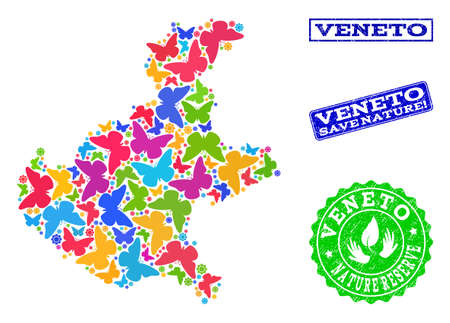 Ecological composition of bright mosaic map of Veneto region and textured seal stamps with Save Nature caption. Mosaic map of Veneto region designed with bright colored butterflies.