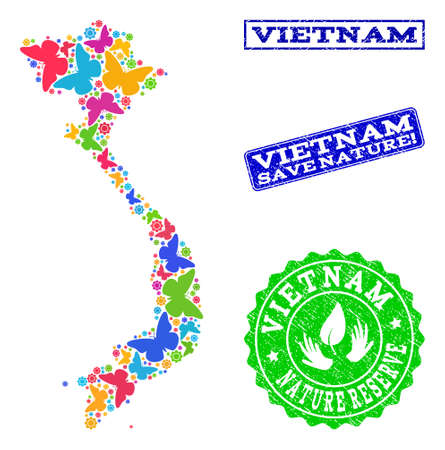 Ecological collage of bright mosaic map of Vietnam and grunge seals with Nature Reserve text. Mosaic map of Vietnam constructed with bright colored butterflies.