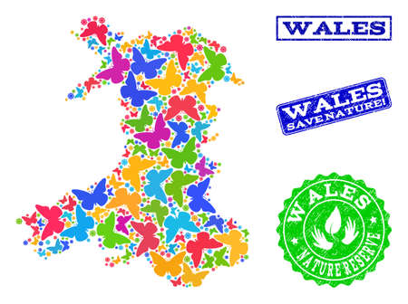 Ecological combination of bright mosaic map of Wales and dirty seals with Save Nature text. Mosaic map of Wales designed with multi-colored butterflies. Vector seals with unclean rubber texture.