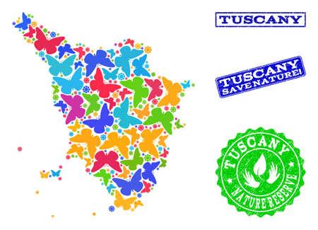 Combinazione ecologica di mappa a mosaico luminoso della regione Toscana e timbri in gomma con testo della Riserva Naturale. Mappa mosaico della regione Toscana realizzata con farfalle dai colori vivaci.