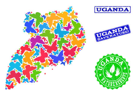 Ecological collage of bright mosaic map of Uganda and textured seal stamps with Nature Reserve caption. Mosaic map of Uganda constructed with bright colored butterflies.