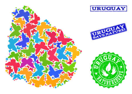 Eco friendly combination of bright mosaic map of Uruguay and textured seal stamps with Nature Reserve caption. Mosaic map of Uruguay constructed with bright colored butterflies.