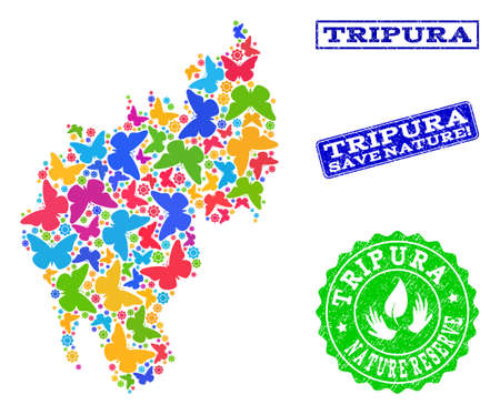 Eco friendly collage of bright mosaic map of Tripura State and rubber stamps with Save Nature text. Mosaic map of Tripura State designed with multi-colored butterflies.