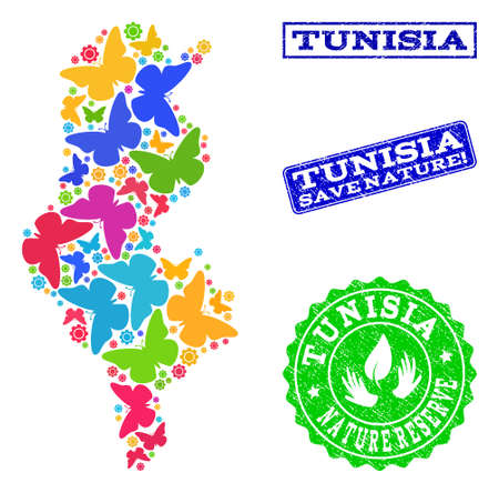 Ecological composition of bright mosaic map of Tunisia and rubber stamps with Save Nature text. Mosaic map of Tunisia constructed with bright colored butterflies.