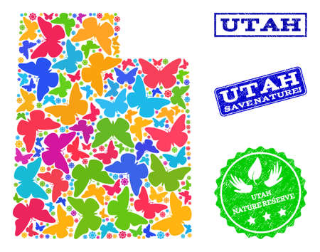 Eco friendly collage of bright mosaic map of Utah State and unclean seals with Save Nature text. Mosaic map of Utah State constructed with bright colored butterflies. Çizim