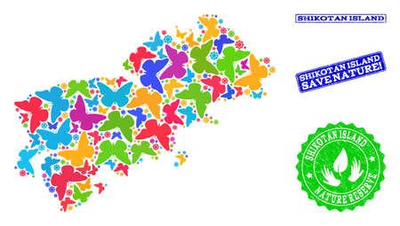 Eco friendly composition of bright mosaic map of Shikotan Island and dirty stamps with Nature Reserve caption. Mosaic map of Shikotan Island constructed with bright colored butterflies. Çizim