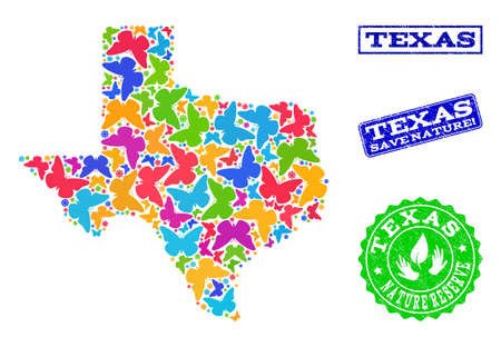 Ecological combination of bright mosaic map of Texas State and grunge seals with Save Nature caption. Mosaic map of Texas State constructed with bright colored butterflies.