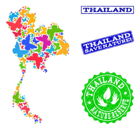 Eco friendly combination of bright mosaic map of Thailand and scratched stamps with Save Nature text. Mosaic map of Thailand constructed with bright colored butterflies.