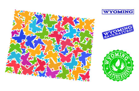 Eco friendly combination of bright mosaic map of Wyoming State and rubber stamps with Nature Reserve text. Mosaic map of Wyoming State constructed with multi-colored butterflies.