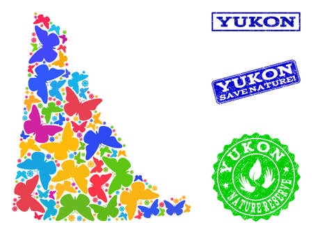 Eco friendly collage of bright mosaic map of Yukon Province and textured seal stamps with Nature Reserve text. Mosaic map of Yukon Province designed with bright colored butterflies.