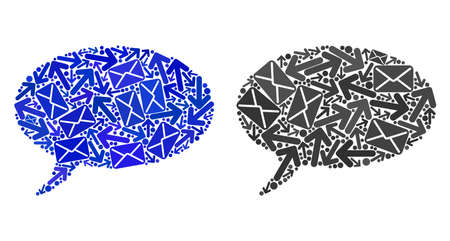 Post message cloud1 icon mosaic of envelopes and arrows with blue color. Abstract vector message cloud1 illustration is organized with mail communication symbols.