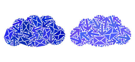 Mail cloud icon collage of envelopes and arrows with blue color. Abstract vector cloud illustration is shaped with mail routes symbols. Flat design for post routes posters.
