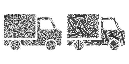 Service delivery car icon collage of tools. Abstract vector delivery car symbol is organized of cogwheels, hands, hammers and wrenches. Concept of tuning company. Illustration