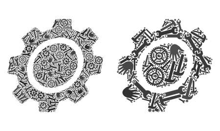 Repair service gear icon collage of service tools. Abstract vector gear symbol is composed of cogwheels, hands, hammers and spanners. Concept of mechanic company.
