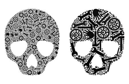 Repair service skull icon collage of service tools. Abstract vector skull symbol is formed with gearwheels, hands, hammers and spanners. Concept of maintenance workshop.