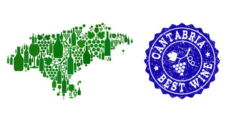 Vector collage of grape wine map of Cantabria Spanish Province and blue grunge seal for best wine awards. Map of Cantabria Spanish Province collage formed with green bottles and grape berries.