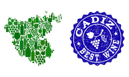 Vector composition of grape wine map of Cadiz Spanish Province and blue grunge stamp for best wine awards. Map of Cadiz Spanish Province collage created with green bottles and grape berries.  イラスト・ベクター素材