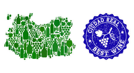 Vector collage of grape wine map of Ciudad Real Spanish Province and blue grunge stamp for best wine awards. Map of Ciudad Real Spanish Province collage composed with green bottles and grape berries.