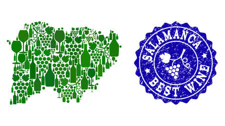 Vector collage of grape wine map of Salamanca Spanish Province and blue grunge seal stamp for best wine awards. Map of Salamanca Spanish Province collage composed with green bottles and grape berries. Illustration