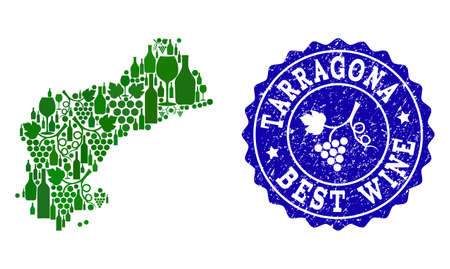 Vector collage of grape wine map of Tarragona Spanish Province and blue grunge seal stamp for best wine awards. Map of Tarragona Spanish Province collage created with green bottles and grape berries. Stock Illustratie