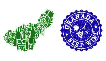Vector collage of grape wine map of Granada Spanish Province and blue grunge seal stamp for best wine awards. Map of Granada Spanish Province collage formed with green bottles and grape berries.