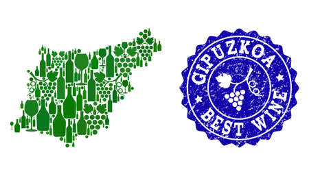 Vector collage of grape wine map of Gipuzkoa Spanish Province and blue grunge stamp for best wine awards. Map of Gipuzkoa Spanish Province collage designed with green bottles and grape berries. Illustration