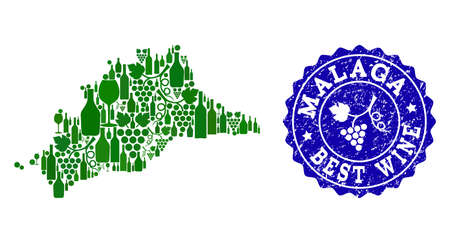 Vector collage of grape wine map of Malaga Spanish Province and blue grunge seal for best wine awards. Map of Malaga Spanish Province collage created with green bottles and grape berries.