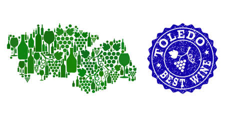 Vector collage of grape wine map of Toledo Spanish Province and blue grunge seal for best wine awards. Map of Toledo Spanish Province collage designed with green bottles and grape berries.