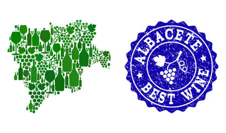 Vector combination of grape wine map of Albacete Spanish Province and blue grunge stamp for best wine awards. Map of Albacete Spanish Province collage created with green bottles and grape berries.