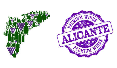 Vector combination of grape wine map of Alicante Province and purple grunge seal stamp for premium wines awards. Map of Alicante Province collage created with bottles and grape berries. Stock Illustratie