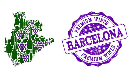 Vector combination of grape wine map of Barcelona Province and purple grunge seal stamp for premium wines awards. Map of Barcelona Province collage designed with bottles and grape berries. Stock Illustratie