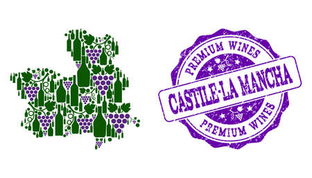 Vector collage of grape wine map of Castile-La Mancha Province and purple grunge seal for premium wines awards. Map of Castile-La Mancha Province collage created with bottles and grape berries.