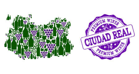 Vector collage of grape wine map of Ciudad Real Province and purple grunge seal for premium wines awards. Map of Ciudad Real Province collage created with bottles and grape berries.