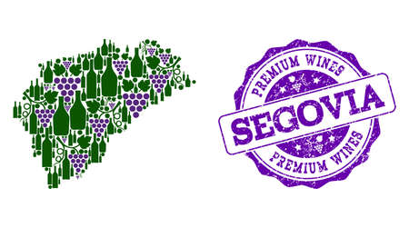 Vector collage of grape wine map of Segovia Province and purple grunge stamp for premium wines awards. Map of Segovia Province collage designed with bottles and grape berries.