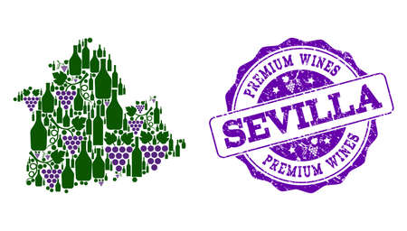 Vector collage of grape wine map of Sevilla Province and purple grunge seal stamp for premium wines awards. Map of Sevilla Province collage created with bottles and grape berries.