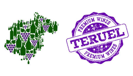 Vector collage of grape wine map of Teruel Province and purple grunge seal for premium wines awards. Map of Teruel Province collage formed with bottles and grape berries.