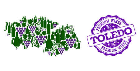 Vector collage of grape wine map of Toledo Province and purple grunge stamp for premium wines awards. Map of Toledo Province collage formed with bottles and grape berries.