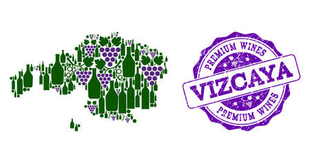 Vector collage of grape wine map of Vizcaya Province and purple grunge seal for premium wines awards. Map of Vizcaya Province collage created with bottles and grape berries. Stock Illustratie