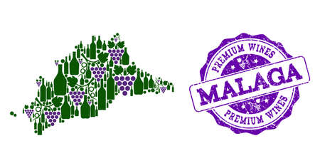 Vector composition of grape wine map of Malaga Province and purple grunge seal for premium wines awards. Map of Malaga Province collage formed with bottles and grape berries. Illustration