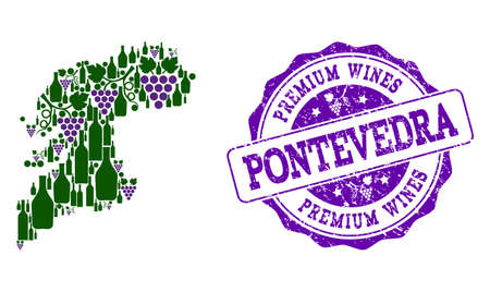 Vector collage of grape wine map of Pontevedra Province and purple grunge stamp for premium wines awards. Map of Pontevedra Province collage formed with bottles and grape berries. Stock Illustratie