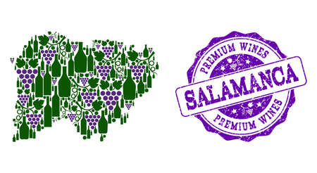 Vector collage of grape wine map of Salamanca Province and purple grunge seal for premium wines awards. Map of Salamanca Province collage formed with bottles and grape berries.