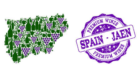 Vector collage of grape wine map of Jaen Spanish Province and purple grunge seal stamp for premium wines awards. Map of Jaen Spanish Province collage created with bottles and grape berries. Stock Illustratie