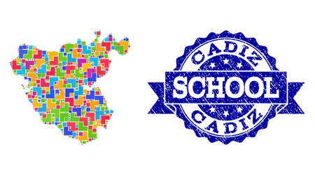 Mosaic puzzle map of Cadiz Province and textured school seal with ribbon. Vector map of Cadiz Province constructed with bright colored square and corner elements.