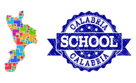 Mosaic puzzle map of Calabria region and scratched school seal with ribbon. Vector map of Calabria region constructed with bright colored square and corner blocks.