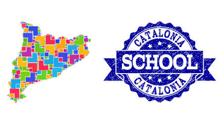 Mosaic puzzle map of Catalonia and corroded school seal with ribbon. Vector map of Catalonia constructed with colorful square and corner elements. Vector watermark with corroded rubber texture,