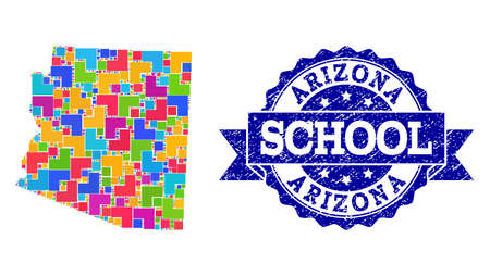Mosaic puzzle map of Arizona State and unclean school seal with ribbon. Vector map of Arizona State designed with bright colored square and corner elements. Vector seal with unclean rubber texture,