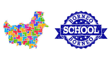 Mosaic puzzle map of Borneo Island and textured school seal with ribbon. Vector map of Borneo Island designed with colorful square and corner blocks. Vector seal with unclean rubber texture,