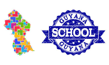 Mosaic puzzle map of Guyana and scratched school seal stamp with ribbon. Vector map of Guyana designed with bright colored square and corner elements. Vector seal with scratched rubber texture,
